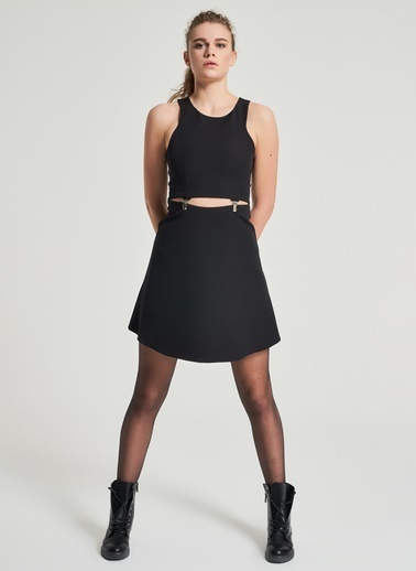 Pi π Dekolte Detaylı Elbise Siyah
